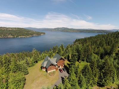 Single Family Home for sales at Lake & mtn views from log home retreat 19234 S TREKKER WOODS RD Coeur D Alene, Idaho 83814 United States