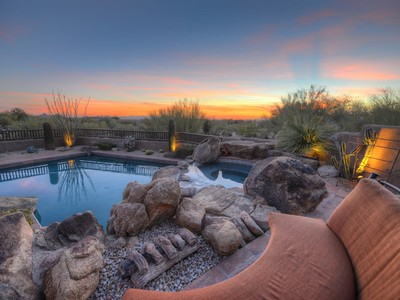 Maison unifamiliale for sales at Fully Furnished Pueblo Style Home Offers Optimal Outdoor Arizona Living 10389 E Scopa Trail Scottsdale, Arizona 85262 États-Unis