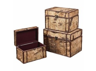 Birch Bark Set of 3 Trunks