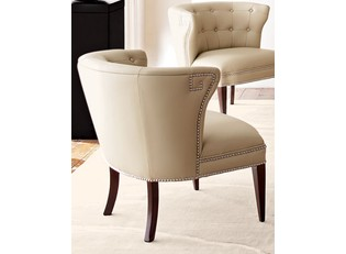 Global Views Creamy Leather Scoop Chair