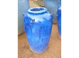 Cobalt Fluted Square Pot