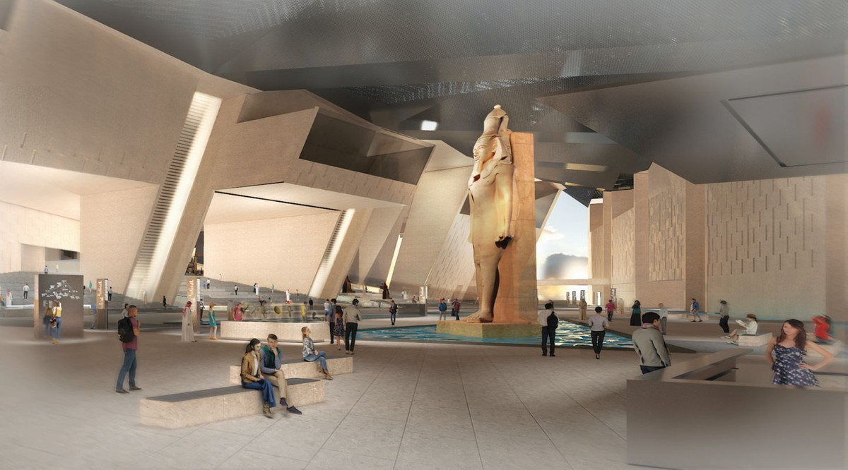 Renderings of the Grand Egyptian Museum show just how spacious the museum, which broke ground in 2012, will be.