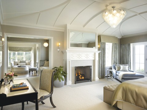 A primary suite—one of a pair— in a St. John home designed by Morgante Wilson Architects