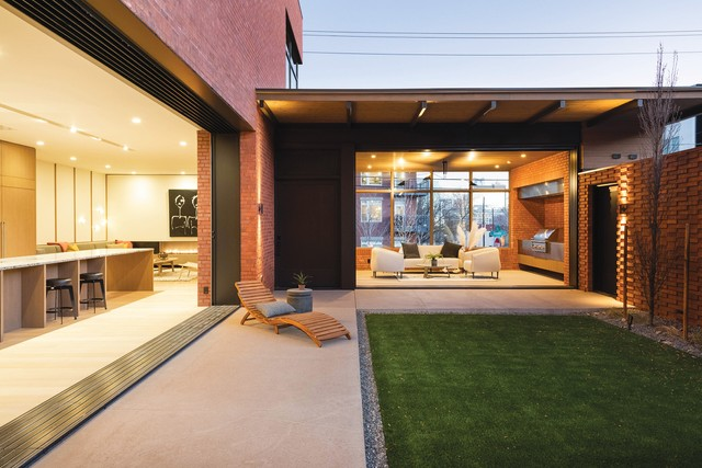 This Denver new construction home showcases stylish minimalism in its indoor-outdoor space